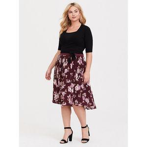 Torrid burgundy floral circle midi skirt